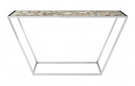 Vita Console Table White Agate Silver Finish Steel