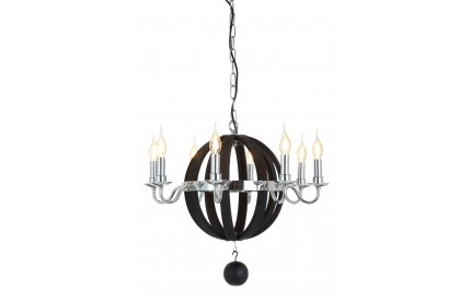 Buckingham Townhouse Chandelier 8 Bulb Chrome / Antique Black Wood