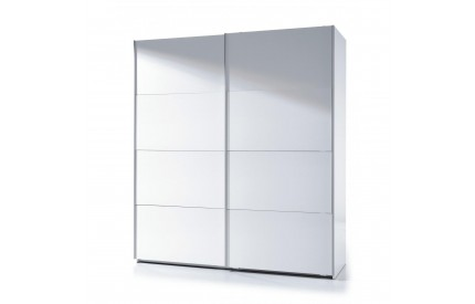 Pacific Sliding Wardrobe 6 Foot Full Hanging High Shine White