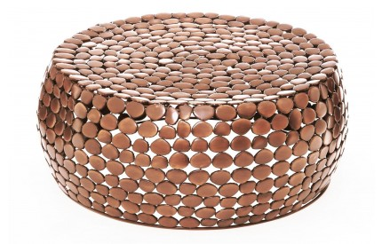 Knights Coffee Table Iron Pebble Design Copper Finish