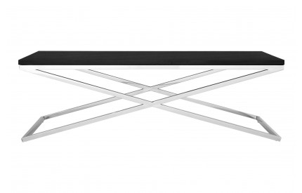 Tribute Coffee Table Stainless Steel Criss Cross Frame MDF Top W/Black Leather Effect