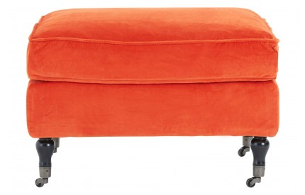 Plush Footstool Orange Cotton Velvet Birchwood Legs With Wheels