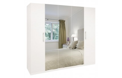 Arrow 5 Door Mirrored White Wardrobe