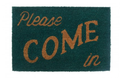 Please Come In Doormat Coir/PVC Backed Green/Natural