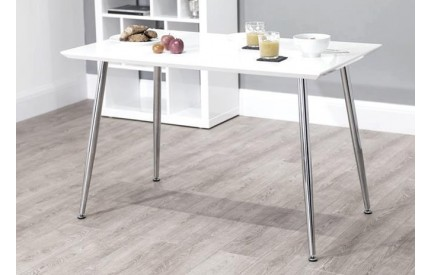 Antali High Gloss Dining Table White & Natural
