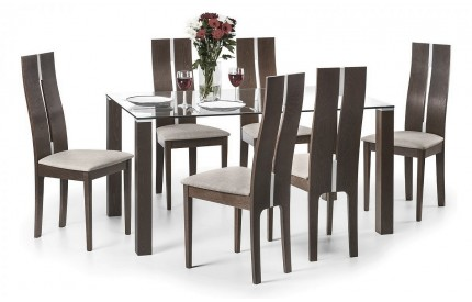 Walnut & Clear Glass Dining Table & Chairs Set