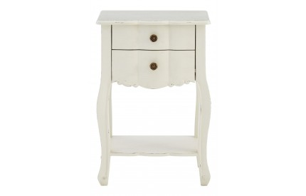 French Bedside Table 2 Drawers White Bayur Wood