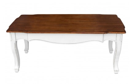Serena Coffee Table White / Dark Paulownia Wood Distressed Finish