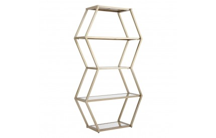 Roana Hexa Shelf Unit Champagne Finish Metal Mirrored Shelves