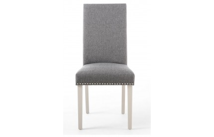 Randall Stud Detail Linen Effect Steel Grey Dining Chair