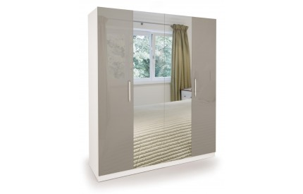 Bailey High Gloss 4 Door Wardrobe