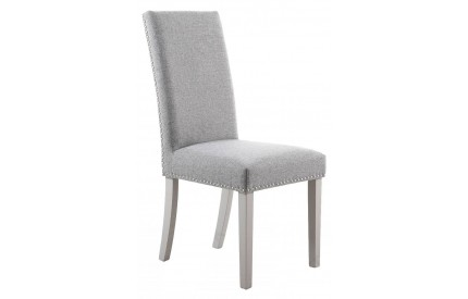 Randall Stud Detail Linen Effect Silver Grey Dining Chair