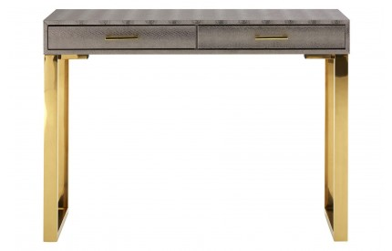 Sea Console Table Metallic Faux Snakeskin Stainless Steel / Gold Frame