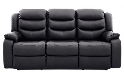 Kirk Recliner Leather 3 Seater Black