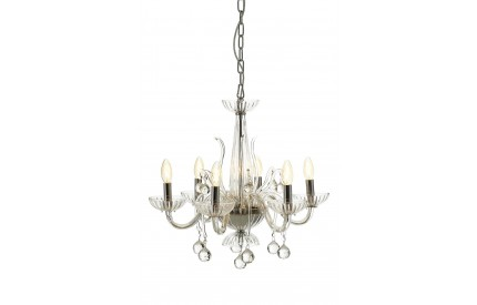 Murano 6 Bulb Chandelier Chrome/Clear Glass Clear Crystal
