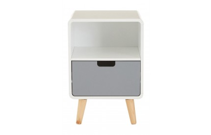 Milo 1 Drawer Cabinet White / Grey Pine Wood Legs