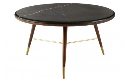 Kenso Coffee Table Walnut Wood / Brass Finish Dark Grey Marble