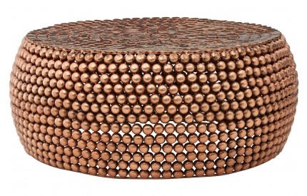 Knights Coffee Table Beaded Iron Copper Finish
