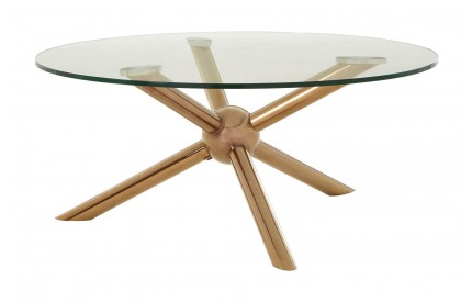 Onebay Coffee Table Clear Tempered Glass Rose Gold Legs