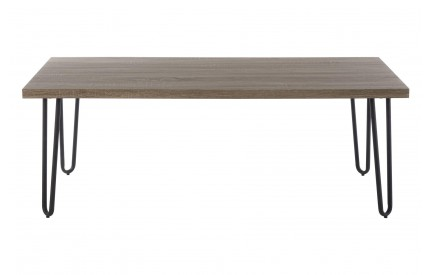 Borough Coffee Table Faux Wood Veneer Matte Black Legs
