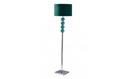 Mistro Floor Lamp Teal Orb / Chrome Base Teal Faux Suede Shade / UK Plug