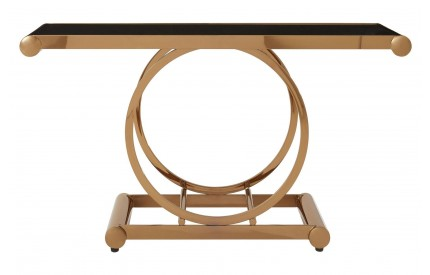 Novara Console Table Black Glass Top Rose Gold Frame