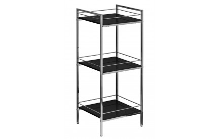 Shelf Unit 3 Tier Black High Gloss Chrome Finish Frame