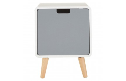 Milo 1 Door Cabinet White / Grey Pine Wood Legs