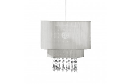 Pendant Shade Silver Voile Beaded
