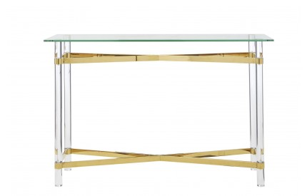 Mystique Console Table Acrylic / Glass / Gold Metal Acrylic