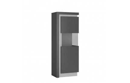 Lyon Narrow Display Cabinet (RH) 165cm Grey Gloss
