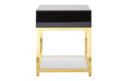 Buckingham Townhouse End Table Black Glass / Gold Frame MDF  Stainless Steel  Tempered Glass