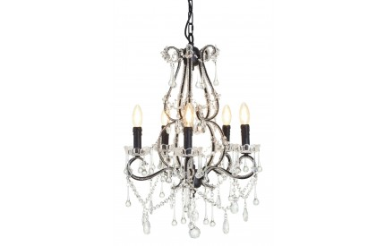 Buckingham Townhouse Chandelier Matte Black Iron/Crystal 5 Bulbs