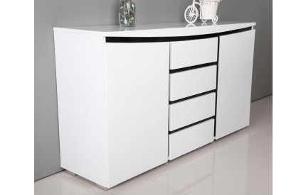 Terdo High Gloss Side Board White & Black