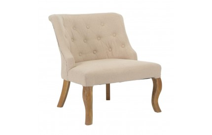 Feature Chair Linen Finish Fabric Tropical Hevea Wood