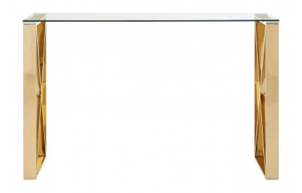 Allure Console Table Clear Glass Champagne Gold