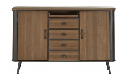 Trinity Solid Fir Wood Metal Sideboard Dark Walnut