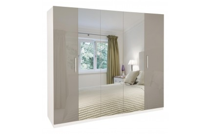Bailey High Gloss 5 Door Mirrored Wardrobe