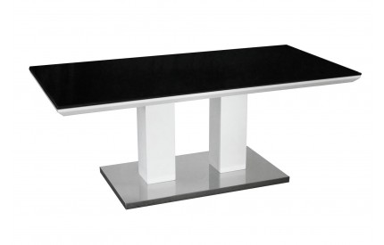 Black Painted Glass Coffee Table Black & White