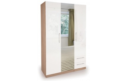 Moore High Gloss 3 Door 2 Drawer Wardrobe