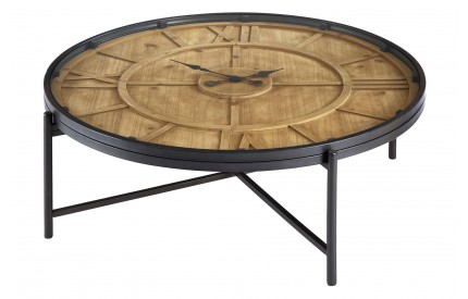 Trinity Round Coffee Table Iron / Fir Wood Tempered Glass