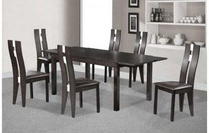 Mardle Dining Set 6 Solid Beech Chairs Dark Walnut