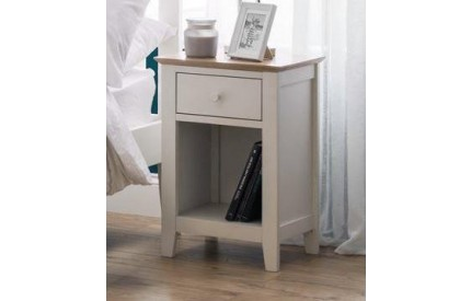 Salerno Shaker Ivory/ Oak 1 Drawer Bedside