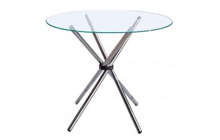 Dining Table Clear Glass Chrome Finish Legs