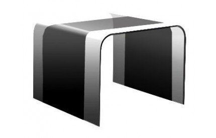 Curved Glass Black Lamp Table