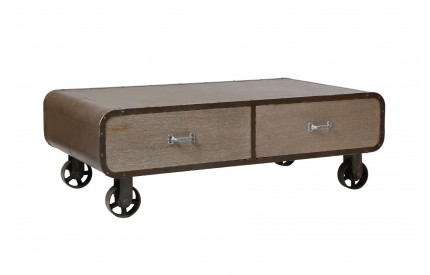 Village Loft Coffee Table 2 Drawers Paulownia Wood/MDF