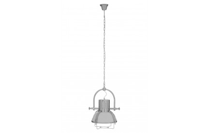 Industrial Revolution Pendant Light Chrome Exterior / White Interior
