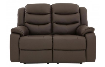 Kirk Recliner Leather 2 Seater Dark Choc
