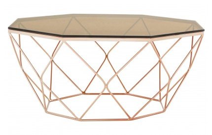 Premium Coffee Table Amber Smoked Glass Rose Gold Base