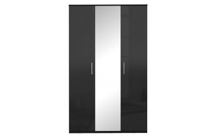Topper High Gloss Black Wardrobe Mirrored 3 Door